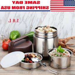 1.8L Vacuum Insulated Lunch Box 3 Tier Jar Hot Thermos Food