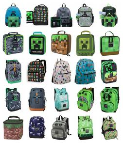 "Minecraft 17"" Backpack OR 16"" 5 PC Set OR Lunch Bag Box Char"