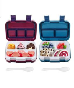2 PACK Bento Box Lunch Boxes BPA LeakProof 4-Compartment Set