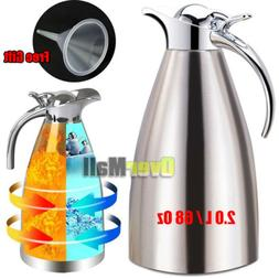 2L Stainless Steel Vacuum Insulated Thermal Carafe Coffee Po