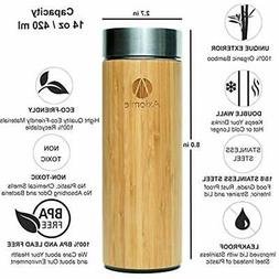 Bamboo & Stainless Steel Vacuum Insulated Bottle Thermos W/