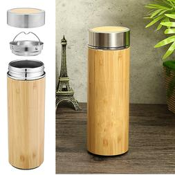 Bamboo Travel Thermos Cup Stainless Steel Bottles Water Vacu
