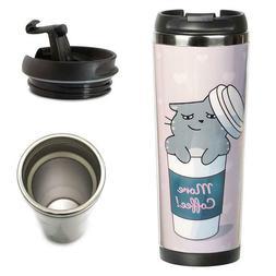 Cat lover mug. Custom travel mug. Cat thermo mug. Coffee to