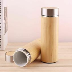Ceramic Bamboo Insulated Thermos Bottles Coffee Tea Travel V