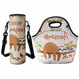Coloranimal Cute Sloth Pattern Neoprene Lunch Bag with Big W