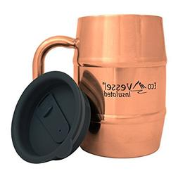 Eco Vessel Double Barrel Insulated Copper Mug with Lid, 17 o