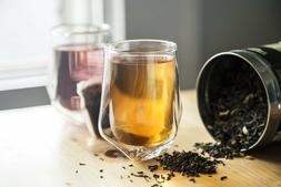 Double Wall Cyrstal Tea, or Coffee Glasses - Set of 2 Geomet