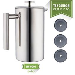 MIRA Stainless Steel French Press Coffee Maker | Double Wall