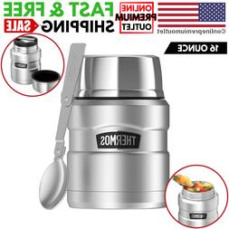 Food Jar w/ Folding Spoon Vacuum Insulated 16-Oz Stainless S