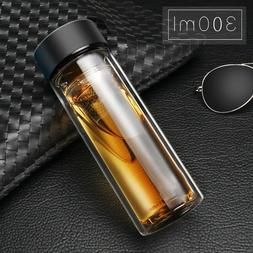 Glass Stainless Steel Double Layers Vacuum Thermos Coffee Tr