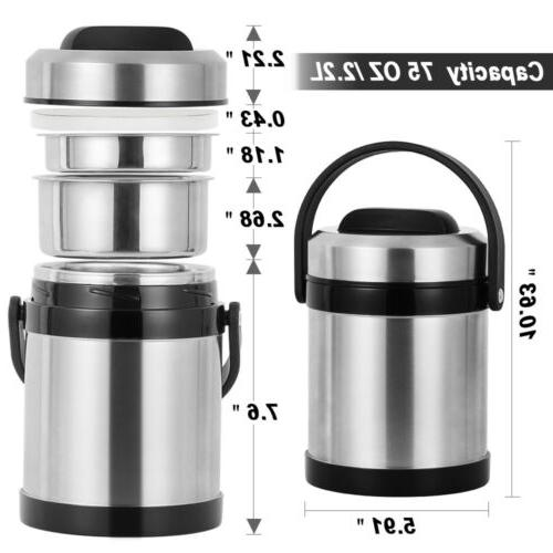 2.2L Insulated Box 3 Hot Food Container Stainless