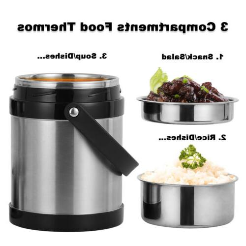 2.2L Vacuum Lunch Box 3 Tier Jar Hot Food Stainless