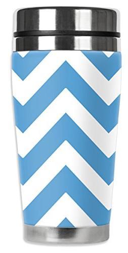 "Mugzie 818-MAX ""Colors of N Carolina Chevron"" Stainless Stee"