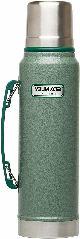 Classic Vacuum Thermos Bottle Coffee Green Hammertone 1.1Qt