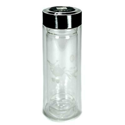 INSULATED GLASS TEA THERMOS 9oz Wall Travel Strainer Infuser Lid