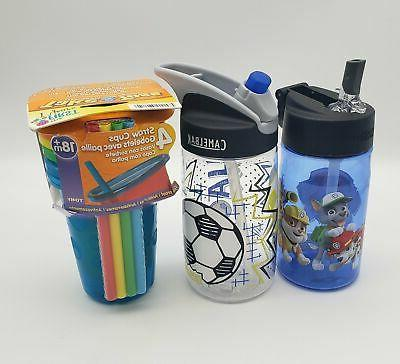 Lot of Childrens Straw Bottles, Camelbak, Thermos, First Yea
