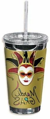 "Mugzie ""Mardi Gras"" To Go Tumbler with Insulated Wetsuit Cov"