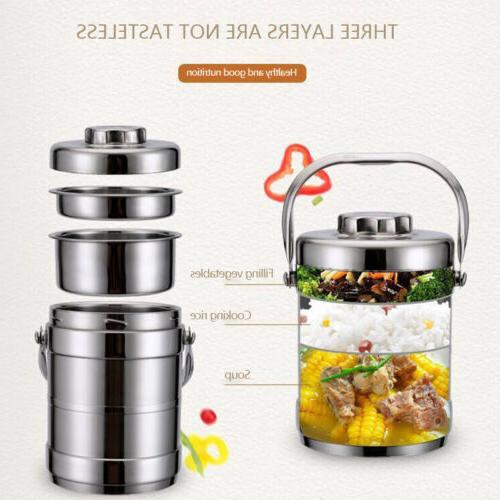 Vacuum Insulated Lunch 3 Jar Hot Thermos Food Steel