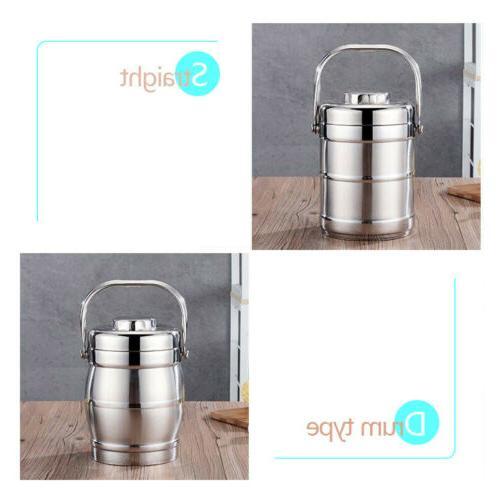 Vacuum 3 Jar Hot Thermos Food Container Steel