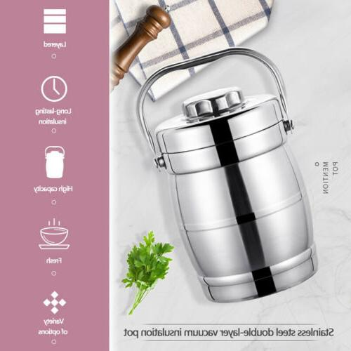 Vacuum Insulated 3 Tier Jar Hot Thermos Food Container Stainless Steel