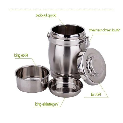 Vacuum Lunch Box 3 Thermos Food Container Steel