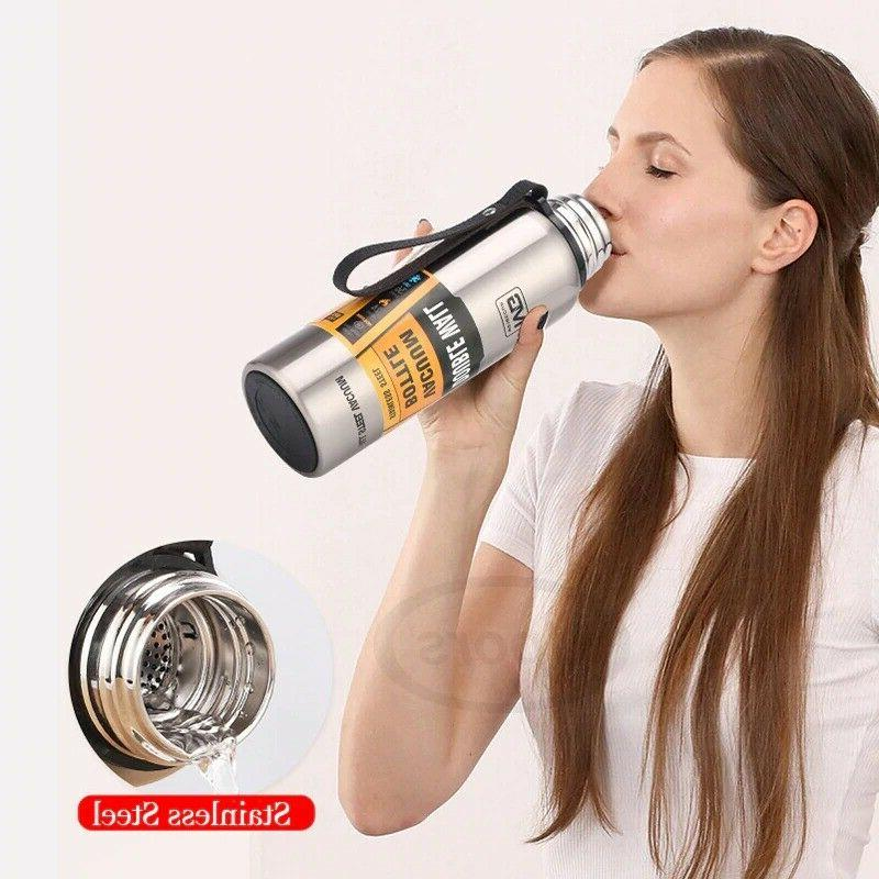 Water Bottle Capacity Stainless Steel Portable Rope Thermo Bottle