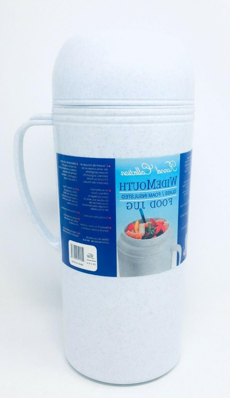 wide mouth glass and foam insulated food