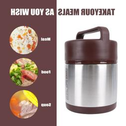 Large Capacity Thermos Lunch Box Portable Stainless Steel Fo