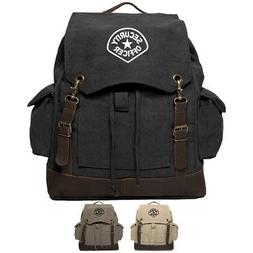 security officer canvas rucksack backpack with leather