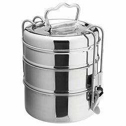 Stainless Steel Lunch Box Food Container 3 Tier Indian Tiffi