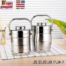 Stainless Steel Vacuum Insulated Lunch Box 3 Layers Thermos