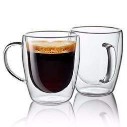 Set of 2 Strong Clear Glass Double Wall Coffee Mug Tea Espre