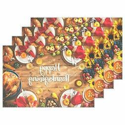 Wamika Thanksgiving Placemats Set of 4, Turkey Pumpkins