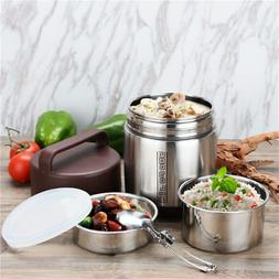 Vacuum Insulated Lunch Box Stainless Steel 3 Tier Jar Hot Th
