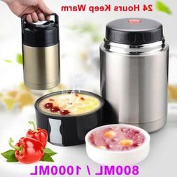 Vacuum Insulated Lunch Box Thermos Portable Stainless Steel