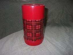 Vintage Aladdin Thermos Red Plaid Pint Wide Mouth No. 240 Cu